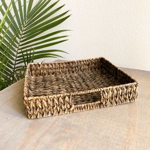 boho woven basket tray